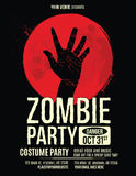 Zombie hand in blood moon flyer template. Zombie Party Flyer with Illustration of Zombie Hand in Blood Moon stock illustration