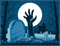 Zombie Hand Cemetery Halloween Vintage Background Horror Moon Po. Hand of zombie corpse with claws raised up from grave with gravestone on a cemetery with Royalty Free Stock Images