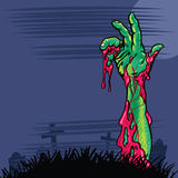 Zombie hand coming out the ground illustration Royalty Free Stock Photo