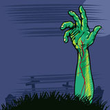 Zombie hand coming out the ground illustration Stock Photo