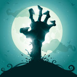 Zombie hand on full moon Royalty Free Stock Photos