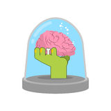 Zombie hand in glass bell. Laboratory research. Green living dea Royalty Free Stock Images