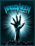 Zombie-Hand-Halloween-Partei-Weinlese-leuchtendes Hintergrund-Horror-Druck-Plakat Stockbilder