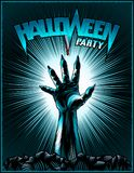 Zombie Hand Halloween Party Vintage Radiant Background Horror Print Poster Stock Images