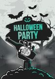 Halloween party poster. Zombie hand hold a beer, tree and bats. Halloween poster Template. Vector illustration stock illustration