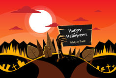 Zombie Hand Hold Board, Orange Autumn Woods Royalty Free Stock Images