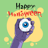 Zombie Hand Hold Eye Halloween Banner Royalty Free Stock Photography