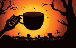 Zombie hand holding coffee cup at the cemetery. Stock Images