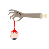 Zombie hand holding an eyeball vector illustration. Stock Image