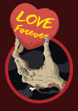 Zombie Hand Holding a Heart Card with Love Message, Vector Illustration Stock Photos