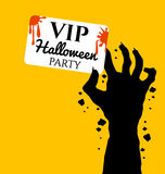 Zombie hand holding invite VIP card for halloween Royalty Free Stock Photos