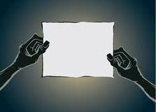 Zombie hand holding old paper no text Stock Photo