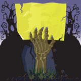 Zombie Hand Invitation. This Zombie invites you to his grave stock illustration