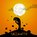 Zombie hand and moon halloween background Royalty Free Stock Photo