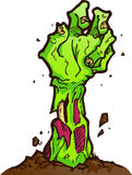 Zombie Hand. Hand of a zombie reaching out of the dirt. On white background for easy placement stock illustration