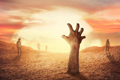Zombie hand rising from the grave Stock Images