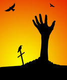 Zombie hand rising out of grave royalty free illustration