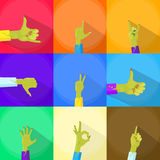 Zombie Hand Show Finger Gesture Set Collection. Flat Vector Illustration Royalty Free Stock Photo