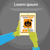 Zombie Hand Tablet Computer Finger Point Touch. Screen Flat Vector Illustration Stock Images