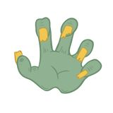 Zombie hand vector on white background Stock Images