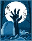 Zombie-Handkirchhof-Halloween-Weinlese-Hintergrund-Horror-Druck P stock abbildung