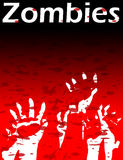 Zombie Hands. Lots of Zombie hands reaching upwards, with blood splats Royalty Free Stock Images