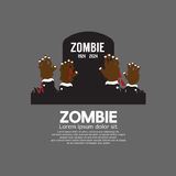 Zombie Hands Coming Out In Front Of The Grave Royalty Free Stock Photography