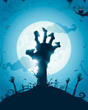 Zombie hands on full moon. Halloween background with zombie hands on full moon Stock Image