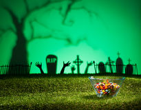 Zombie hands and graveyard Royalty Free Stock Photos