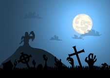 Zombie hands graveyard and death with halloween backgro Stock Photo