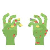 Zombie Hands. Limbs green zombi. cadaveric spots on arm.  Stock Photo