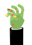 Zombie Hands. Limbs green zombi. cadaveric spots on arm.  Royalty Free Stock Photo