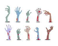 Zombie Hands Sticking out from the Ground Vector. Zombie hands sticking out from the ground. Various damaged and dried human limbs appear from the grave flat royalty free illustration