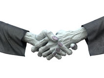 Zombie handshake on white background. Fantasy horror 3d illustration Stock Photography