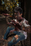 Zombie in the haunted school Stock Image