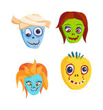 Zombie Head Cartoon icons Stock Image