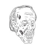 Zombie Head Eyes Closed Drawing. Drawing sketch style illustration of a undead Zombie with Head Eyes Closed on isolated background done in black and white royalty free illustration