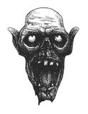 Zombie head, hand drawn,  eps8 Royalty Free Stock Images