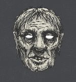 Zombie head, hand drawn,  eps8 Royalty Free Stock Photo