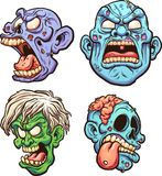 Zombie heads. Cartoon zombie heads with different expressions. Vector clip art illustration with simple gradients. Each on a separate layer Royalty Free Stock Photography