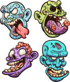 Zombie heads. Cartoon zombie heads. Vector clip art illustration with simple gradients. Each on a separate layer stock illustration