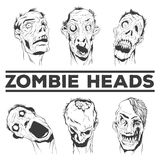 Zombie heads vector illustrations Royalty Free Stock Photos