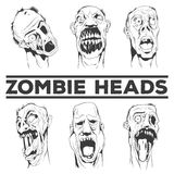 Zombie heads vector illustrations Royalty Free Stock Images