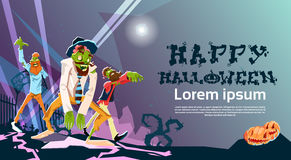 Zombie Hipster Group Happy Halloween Party Invitation Card. Flat Vector Illustration Stock Photography