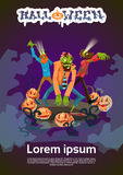 Zombie Hipster Group Happy Halloween Party Invitation Card Royalty Free Stock Photos