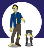 A zombie and his dog. Zombie at night with his dog Royalty Free Stock Images