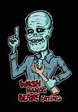 Zombie holds a bloody hand vector illustration