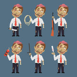 Zombie Holds Weapons Rope Dynamite Thermometer Royalty Free Stock Photo