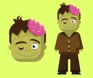 Zombie horror scary character for kids for halloween vector illustration