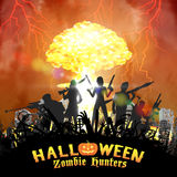 Zombie hunter group with nuclear bomb background Royalty Free Stock Photography